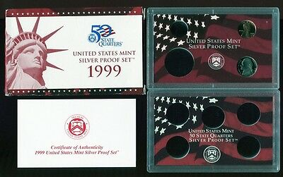 1999 U.S MINT PARTIAL SILVER PROOF SET w//box and COA no quarters LINCOLN