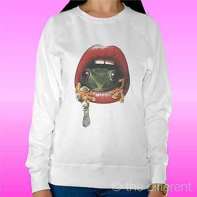 """Felpa Donna Leggera Sweater Bianco """" Bocca Rana Mouth Frog """" Road To Happiness Materiale Selezionato"""
