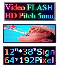"""38""""x 12"""" Full Color Video P5 HD LED Sign Programmable Scrolling Message Display"""