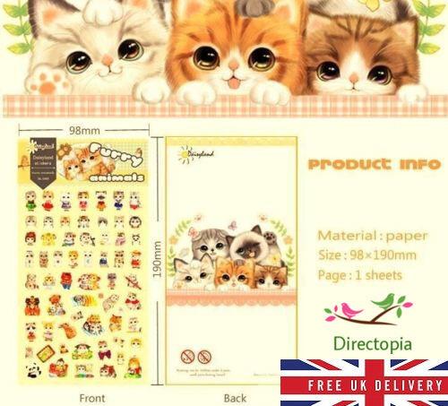 Furry Animals Cat Design Cartoon Kawaii Diary Album Decor Stickers Scrapbook