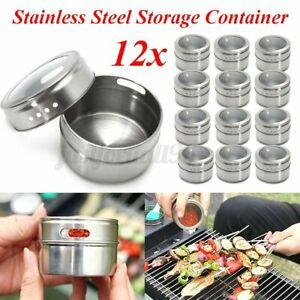 12X Magnetic Spice Tins Stainless Steel Storage Container Jars Clear Lid 6.5cm