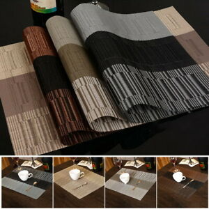 Bamboo-Pvc-Placemat-Set-Of-4-6-Table-Mats-Dark-Brown-Kitchen-Dining-Decor-Cover