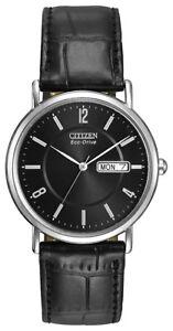 Citizen-Eco-Drive-Men-039-s-Black-Dial-Black-Leather-Strap-36mm-Watch-BM8240-03E