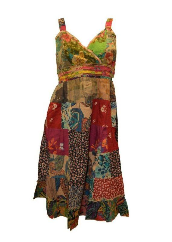 100% Baumwolle Boho Hippie Retro V-ausschnitt Lagenlook Blumen Kurz Kleid P28