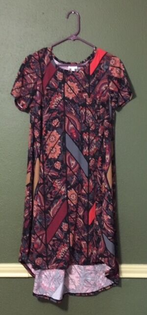 NWT LuLaRoe CARLY  SMALL   PAISLEY FLOWERS with RIBBONS  Red orange bluee