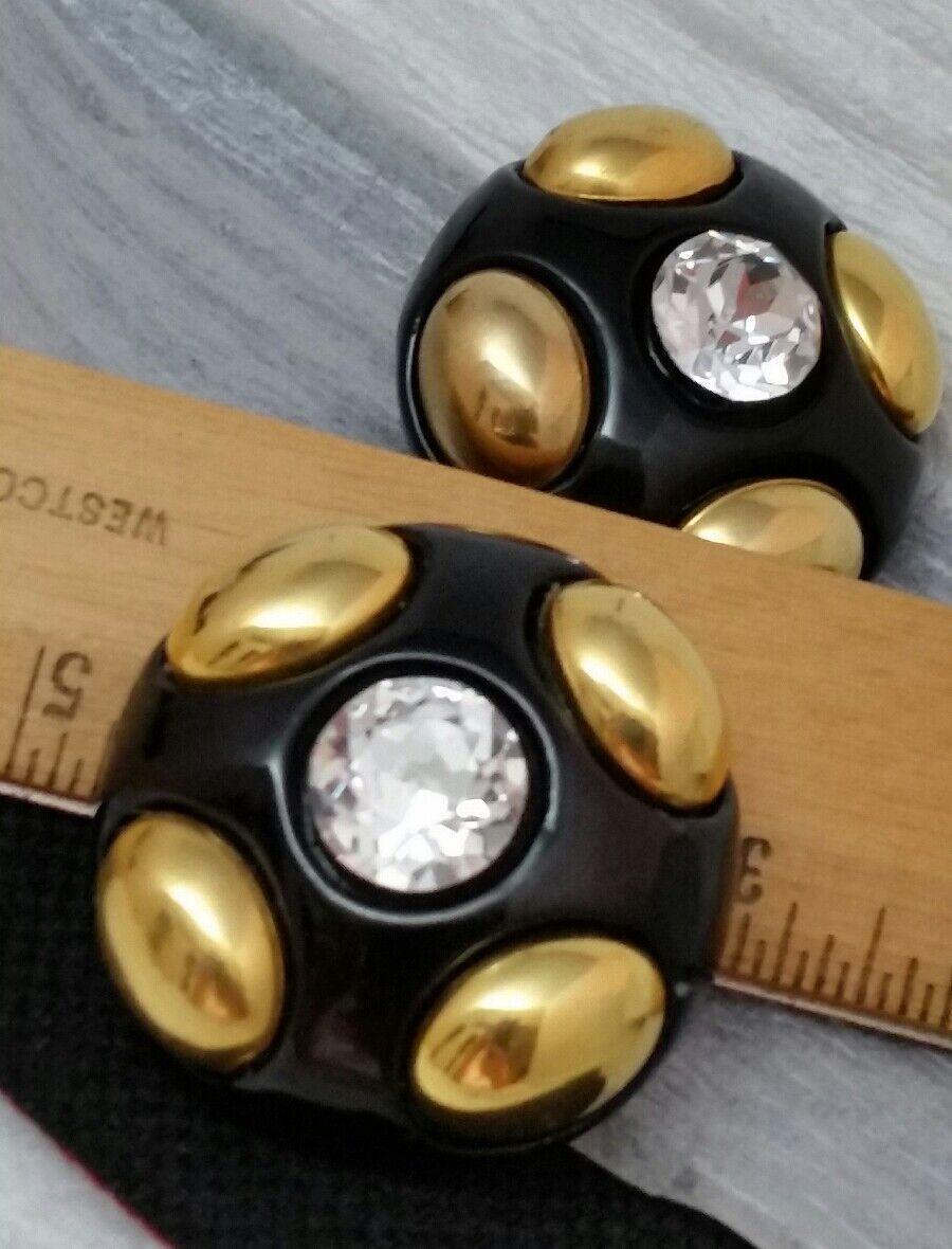 Vintage Oversized Jewellians Black Rhinestone Cli… - image 6