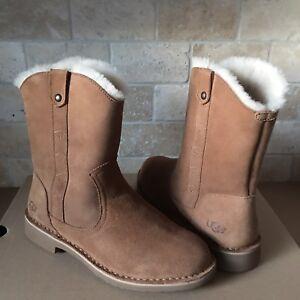 d71c460f28e Details about UGG Larker Chestnut Suede Sheepskin Short Ankle Boots Size US  10.5 Womens