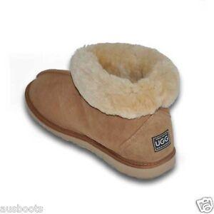 Image is loading Ankle-Ugg-Boots-Mens-amp-Womens-Short-Sheepskin-