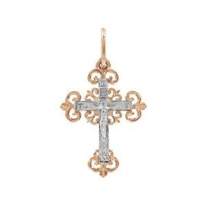 Kreuz-Anhaenger-Jesus-Russissches-Rotgold-585-14-Karat-Cross