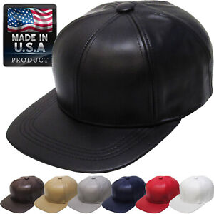 Made In USA 100% Genuine Leather Solid Baseball Ball Cap Adjustable Hat
