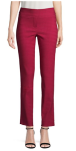 IMNYC Isaac Mizrahi Houndstooth Women's Red Straight Leg Pants size M