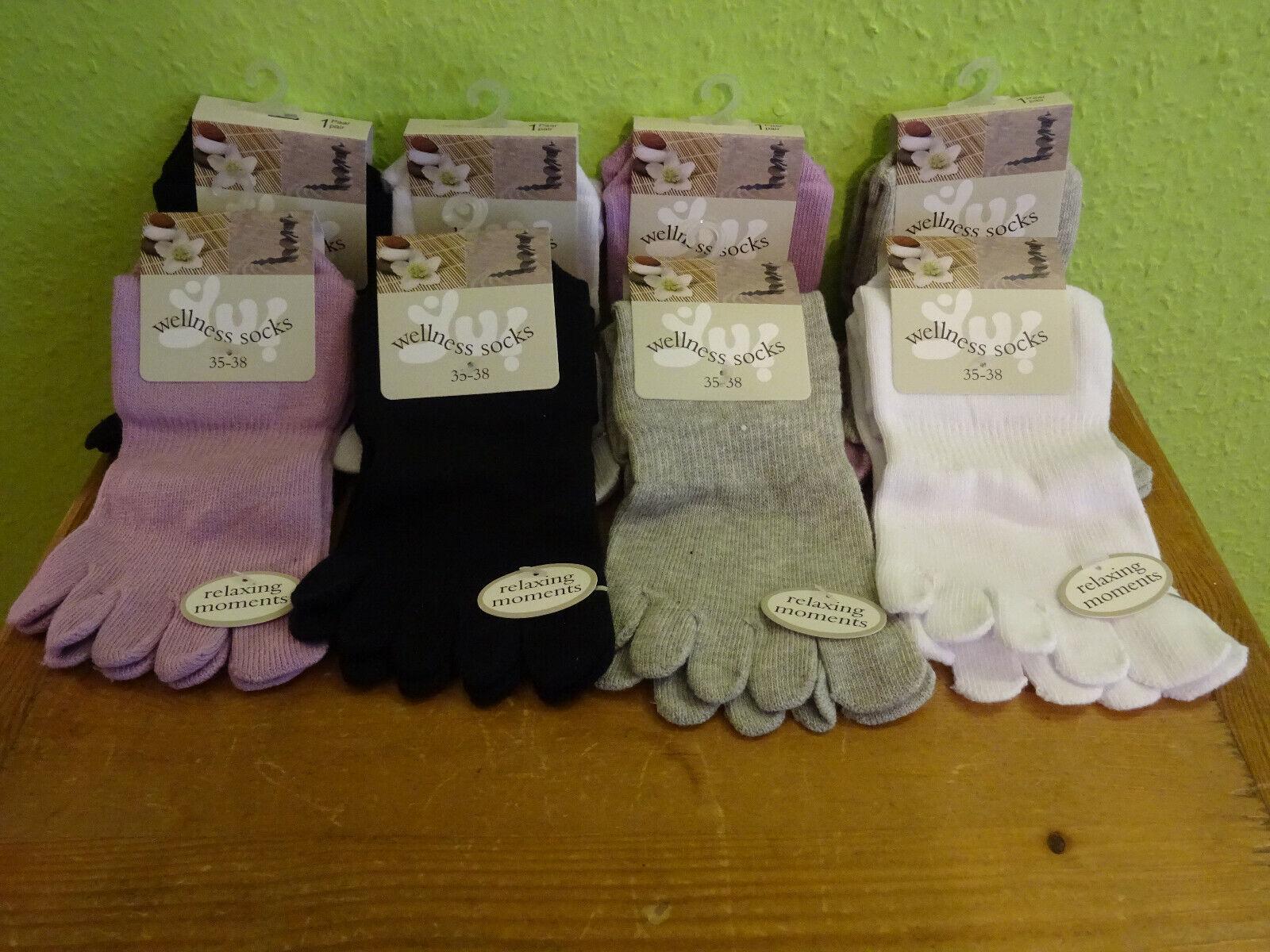 2 Paar Damen Zehensocken schwarz weiß  grau Gr 36 - 42 Socken 5 Einzelzehen