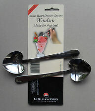 Sweet Heart Stainless Steel Dessert Spoon, Pack of 2 Spoons, Windsor by Grunwerg