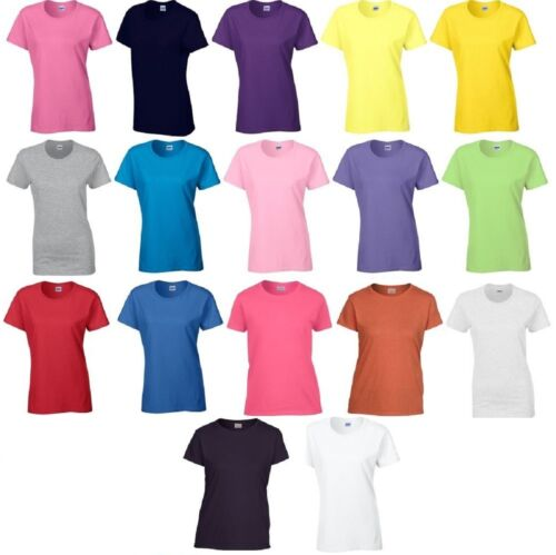 New Gildan Ladies Short Sleeve T-Shirt Top Smart Casual Cotton Size Womans Tee