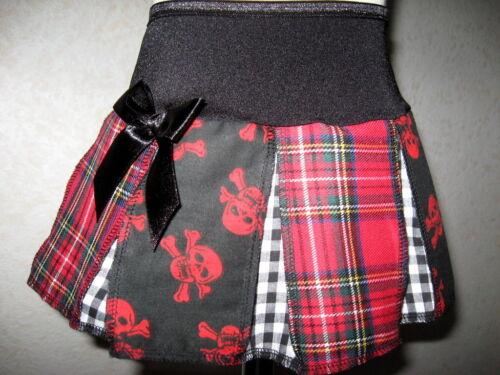 skulls tartan pleated dance skirt Girls Red Black White  check Party Gift Rock