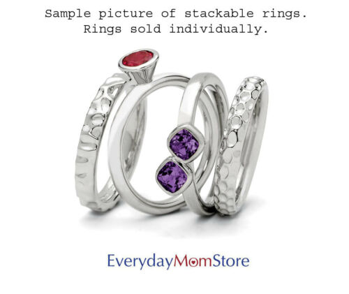 July Birthstone Rings QSK404 Silver Stackable Ring 2 Heart Created Ruby Stones