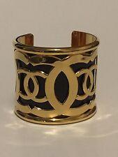 Rare Vintage Chanel Gold Black CC Logo Cuff Bracelet 80s W/Box