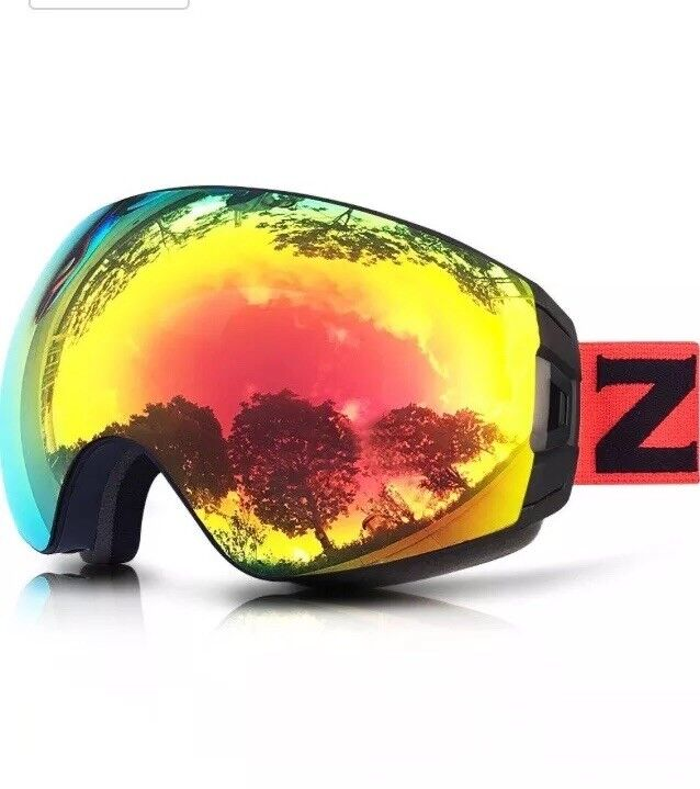 ZIONOR X4 PRO Ski Snowboard Snowmobile Goggles with Magnet Dual Layer Lens Anti-Fog UV400 Protection Spherical Design Anti-Slip Strap for Men Women