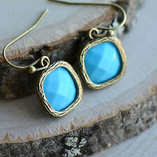 Turquoise Square Jewel Earrings - Antique Bronze Frame - Turquoise Blue Glass