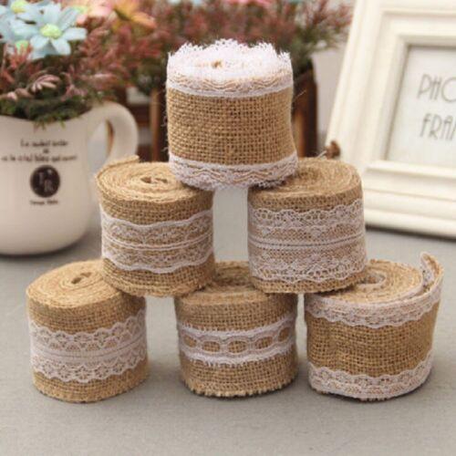 lace trim Edge Rustic Jute Burlap Wedding Decoration 2M Natural Hessian Ribbon