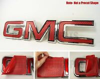 07-16 Gmc Sierra Yukon Red Carbon Fiber Front Grill Emblem Overlay Kit Decal