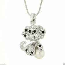 W Swarovski Crystal Dog With Pearl Ball Puppy Pet Pendant Necklace Gift
