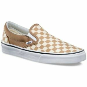 Vans-Classic-Slip-On-Checkerboard-Tiger-039-s-Eye-Men-039-s-Skate-Shoes-Size-7-5