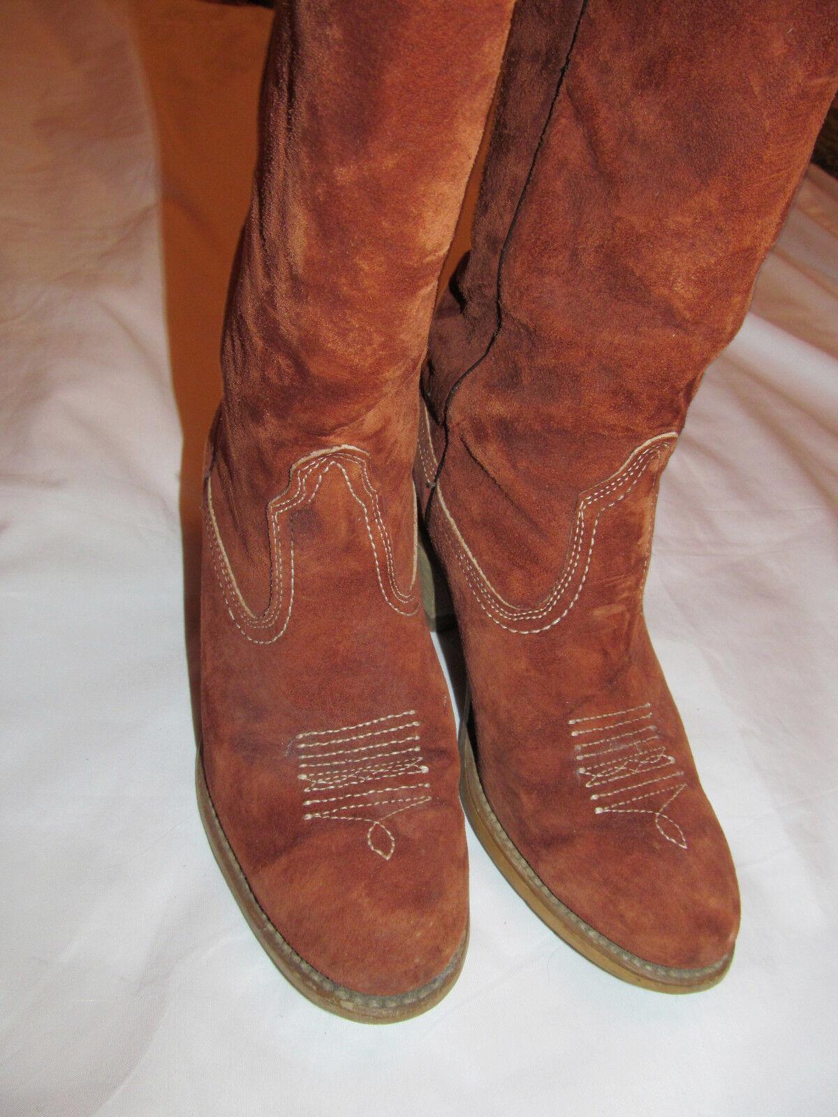 Vintage 70's WOLVERINE suede caramel heel Braun cowboy cowgirl high heel caramel Stiefel 6 M 556712