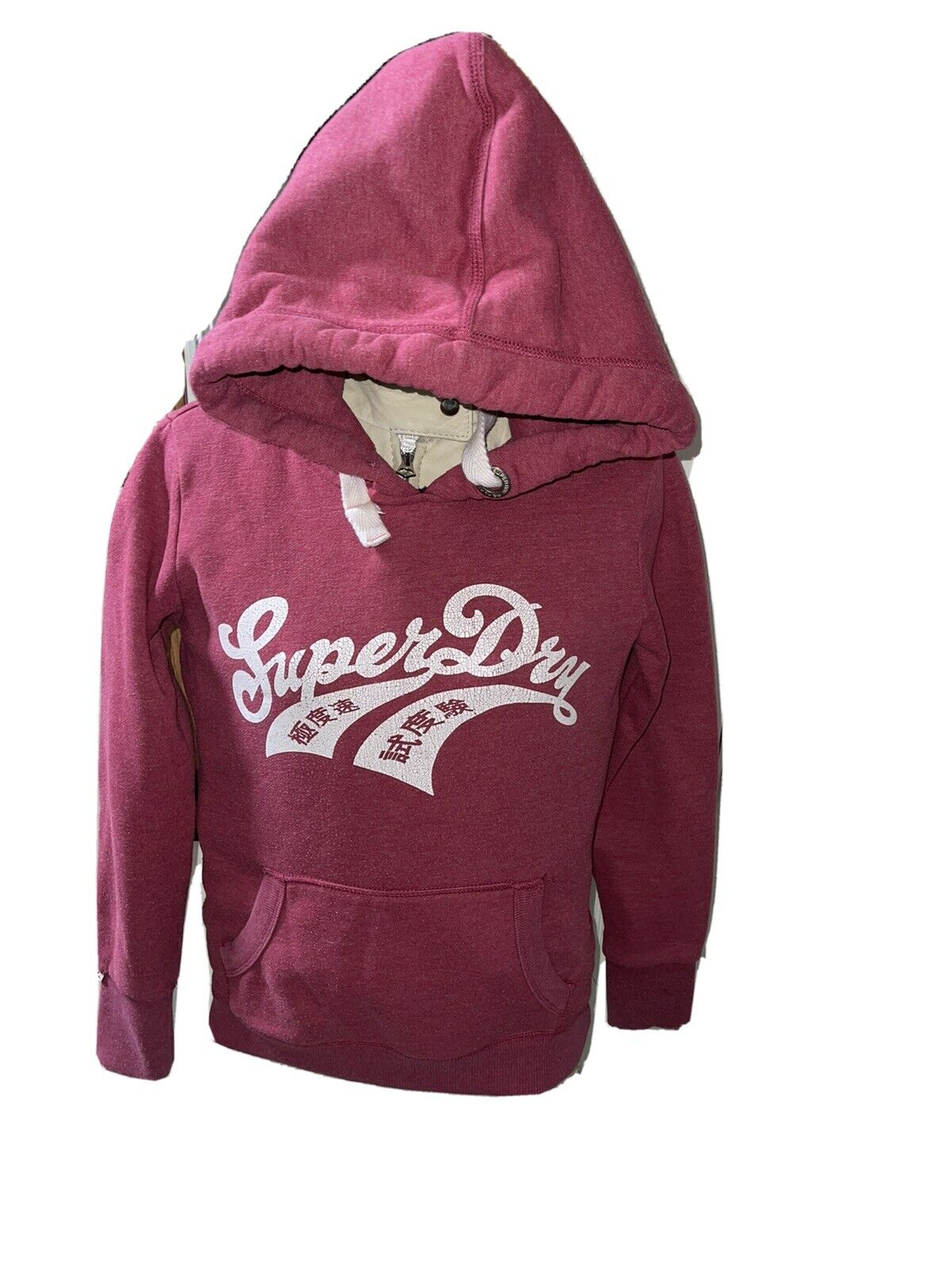 Womens Superdry Original Pullover Hoodie Colour Red/pink Size M (12) Good Con