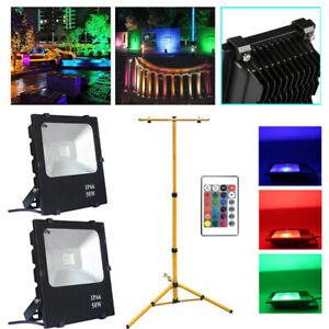 2-pcs-50W-LED-Baustrahler-Aussenlicht-mit-Stativ-Flutlicht-Scheinwerfer-RGB-NEU