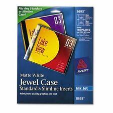 Avery Inkjet Cddvd Jewel Case Inserts Matte White 20pack Ave8693