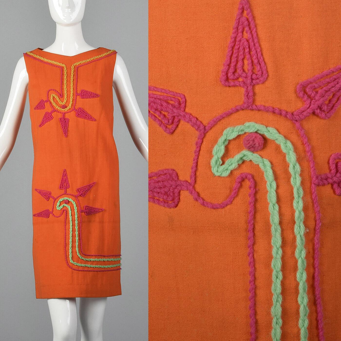 M 1960s Orange Sleeveless Shift Dress Yarn Applique Casual Spring Summer 60s