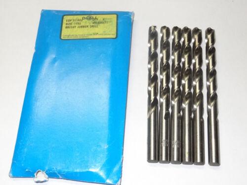 """6 new GREENFIELD 11//32/"""" Jobber Length HSS Twist Drill Bits bright finish 311402"""