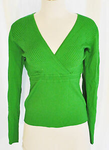 VTG-90s-CHIC-Green-Fitted-Stretchy-V-Neck-Empire-Ribbed-Sweater-Top-Shirt-L
