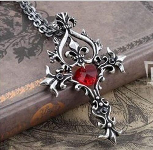 Retro Vampire Diaries Memorial Red Sacred Heart Crystal cross necklace pendantP