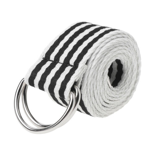 Double Rings Nylon Canvas Strap Waist Belt Metal Buckle Casual Fashion Waistband