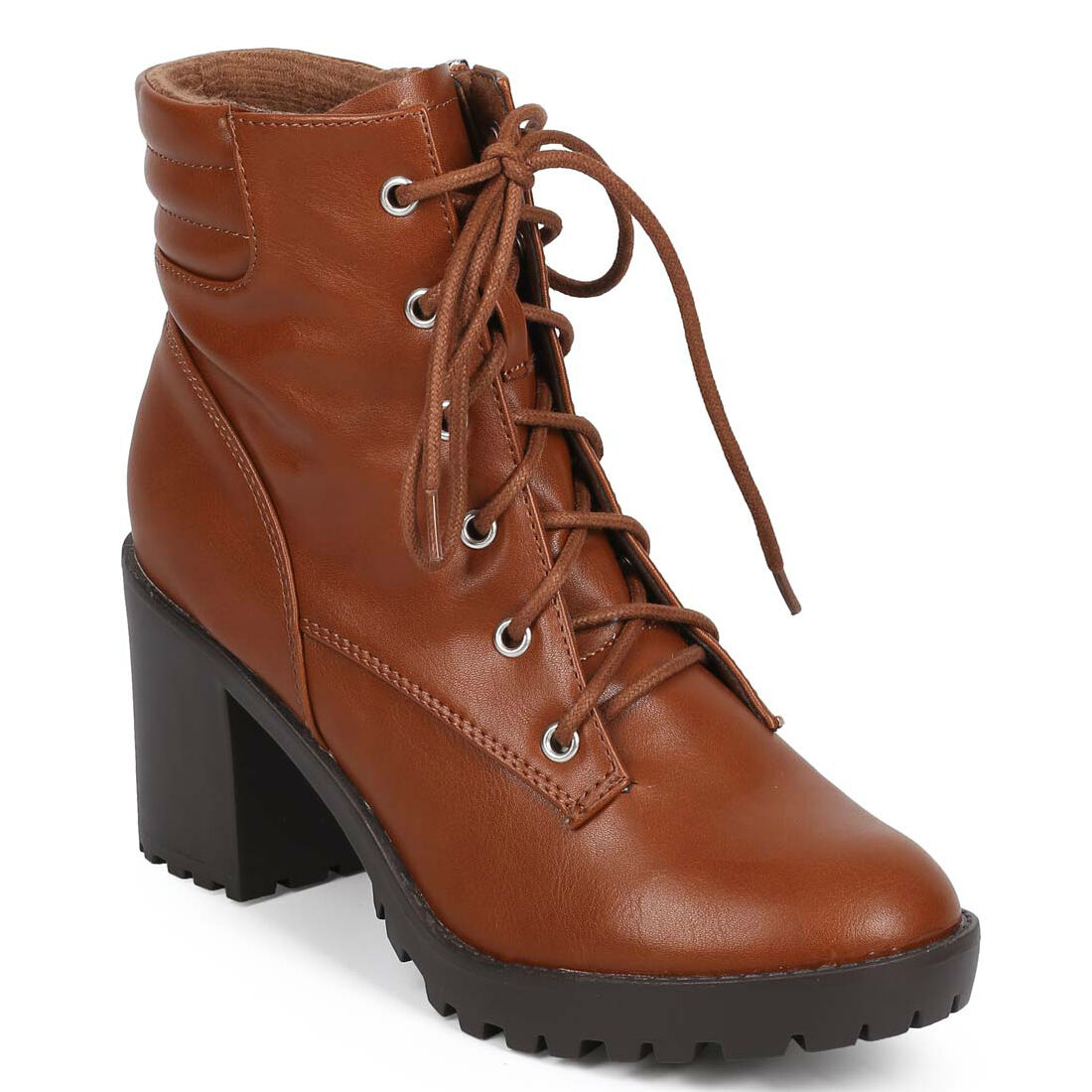 Tan Round toe Ankle Boot Quilted Chunky Heel Lace up Lug sole Women shoes Ranger