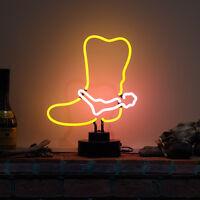 Neonetics Real Glass Neon Cowboy Boot Scuplture Western Usa Decor Lamp 38cm Tall