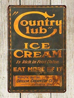 Soft Serve Ice Cream Food Tin Sign Bar Diner Cafe Garage Wall Decor Retro Metal