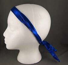 """Blue shiny bendable posable twist wired headband head scarf wrap tie 32"""" long"""