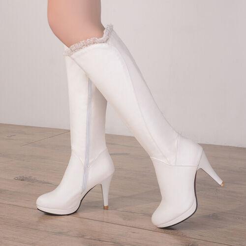 Details about  /Fashion Women Stiletto High Heel Side Zipper Platform Knee High Lace Boots Shoes