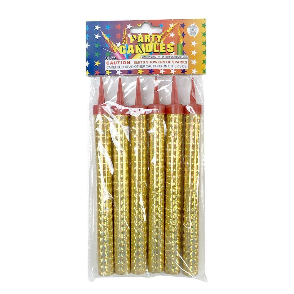 """6ct Birthday Celebration Wedding Bottle 7/"""" Gold Party Candles Outdoor Use"""