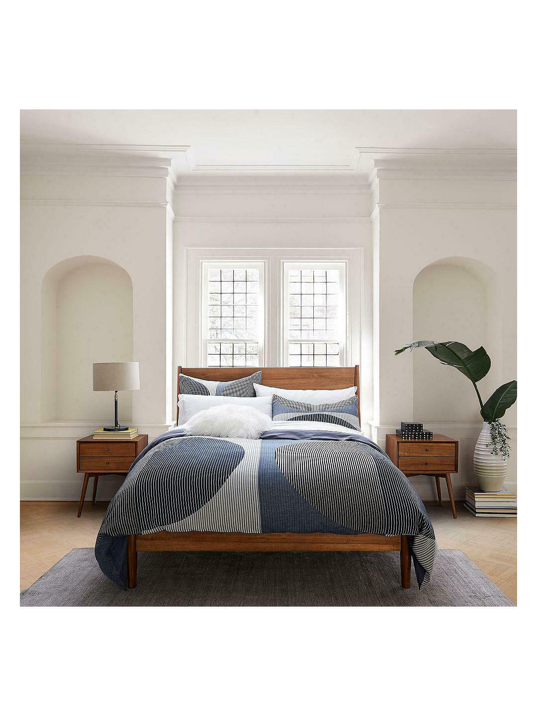 West Elm Mid Century Double Bed Frame In Acorn For Sale Ebay