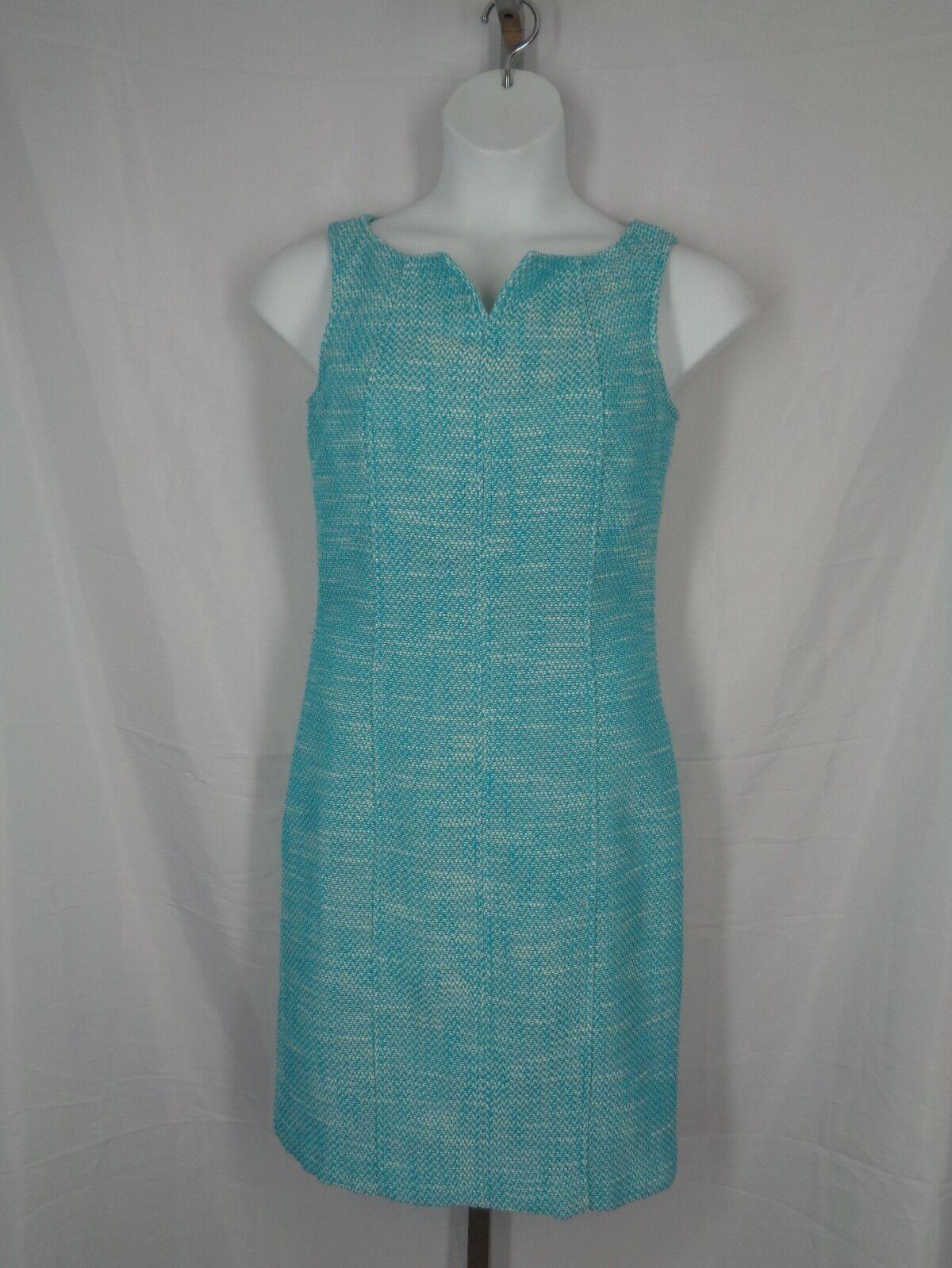 Talbots Dress Size 10 Aqua Turquoise Tweed Sheath Sleeveless Knee Length New
