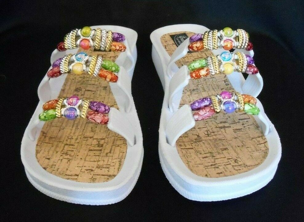 GRANDCO SANDALS Beach Pool SLIDE BLING color Beads WHITE SLIDE Dressy Flip Flops