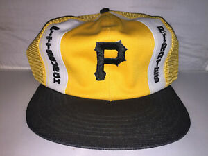 Vtg-Pittsburgh-Pirates-Trucker-mesh-Snapback-hat-cap-rare-80s-made-in-usa-MLB
