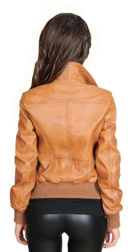 Femme Dernière en Cuir Véritable Veste Aviateur courte ajustée homme zippée manteau Tan