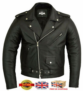 MENS CLASSIC MOTORCYCLE REAL LEATHER SIDE LACE BRANDO BIKER JACKET HEAVY DUTY