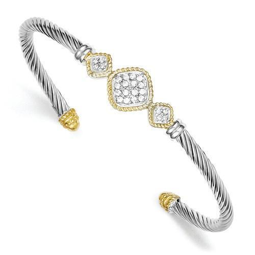 18k Gold Sterling Silver White Sapphire Halo Cushion Cable Cuff Bangle Bracelet