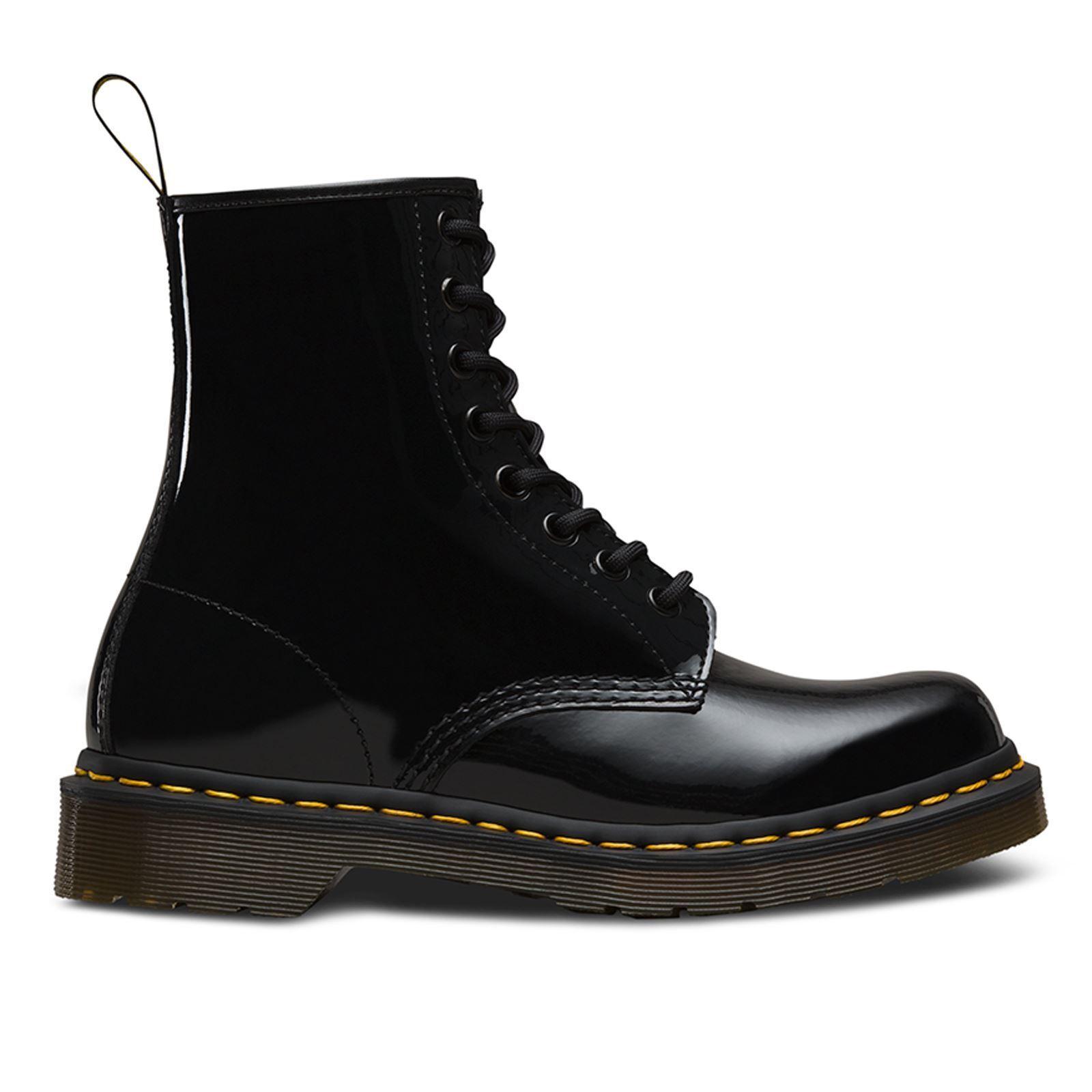 Dr. Martens 1460 Patente Lamper 8 Ojal Negro Patente botas para mujer